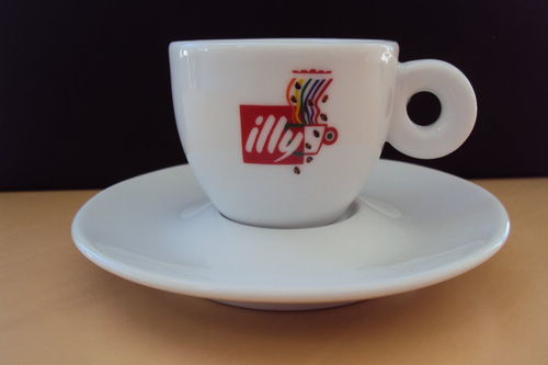 illy collection Logotassen Rosenquist in Box mit Löffeln
